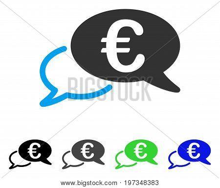 Euro Chat flat vector pictograph. Colored euro chat gray, black, blue, green icon versions. Flat icon style for application design.