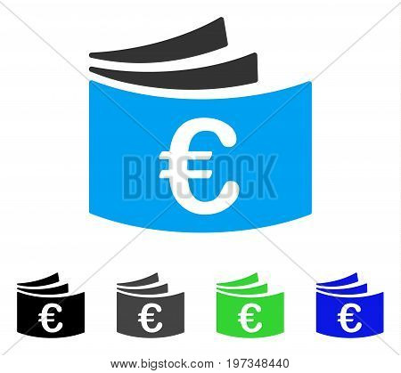 Euro Checkbook flat vector icon. Colored euro checkbook gray, black, blue, green pictogram versions. Flat icon style for web design.