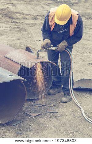 Welder Worker With Cutting Torch 3