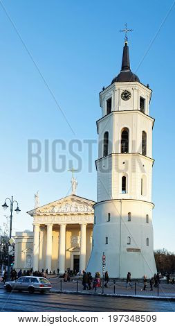 Cathedral Square With Belfry And Museum In Old City Vilnius
