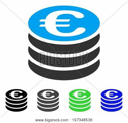 Euro Coin Stack flat vector illustration. Colored euro coin stack gray, black, blue, green icon variants. Flat icon style for application design.