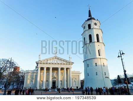 Cathedral Square Belfry And Museum In Old Town Vilnius