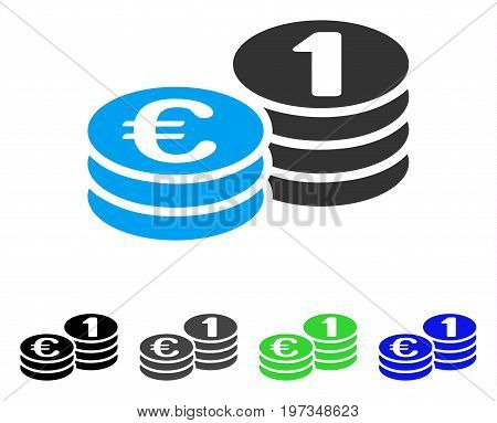 Euro Coins flat vector pictogram. Colored euro coins gray, black, blue, green icon versions. Flat icon style for graphic design.