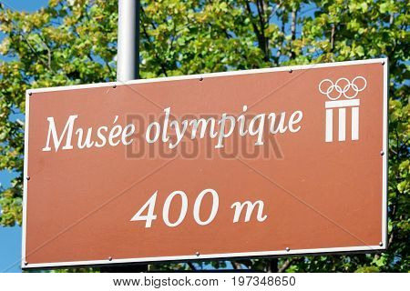 Musee Olympique Street Indicator In Lausanne