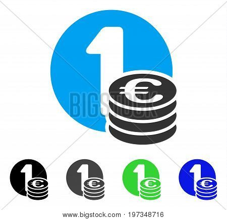 Euro Coins flat vector illustration. Colored euro coins gray, black, blue, green pictogram variants. Flat icon style for web design.