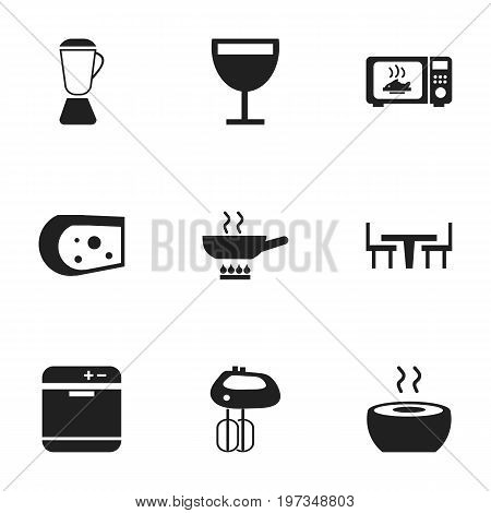 Set Of 9 Editable Cooking Icons. Includes Symbols Such As Wineglass, Whisk, Stewpot And More