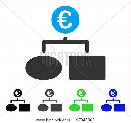 Euro Flow Chart flat vector illustration. Colored euro flow chart gray, black, blue, green icon variants. Flat icon style for application design.