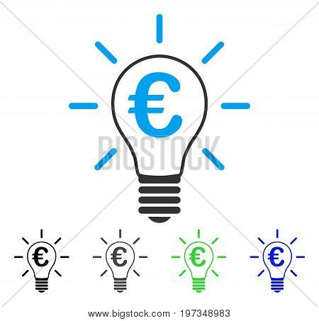 Euro Idea Bulb flat vector illustration. Colored euro idea bulb gray, black, blue, green icon variants. Flat icon style for application design.