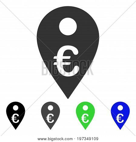 Euro Map Marker flat vector pictograph. Colored euro map marker gray, black, blue, green icon variants. Flat icon style for application design.