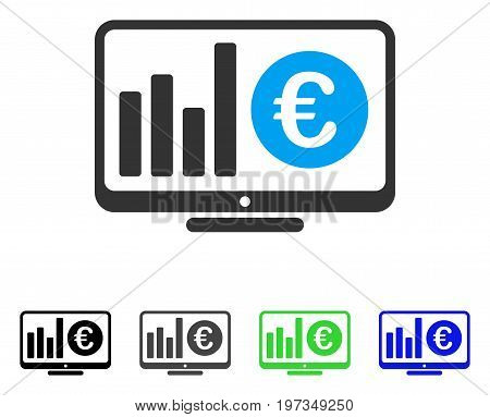 Euro Market Monitoring flat vector pictogram. Colored euro market monitoring gray, black, blue, green icon versions. Flat icon style for web design.