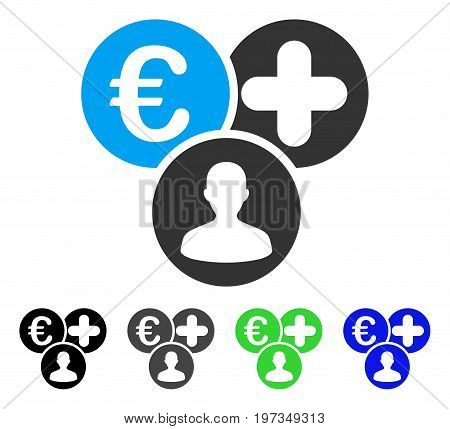 Euro Medical Expences flat vector pictograph. Colored euro medical expences gray, black, blue, green pictogram versions. Flat icon style for web design.