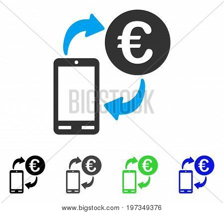 Euro Mobile Exchange flat vector icon. Colored euro mobile exchange gray, black, blue, green icon versions. Flat icon style for web design.