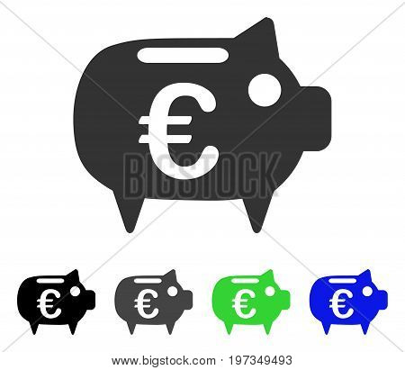 Euro Piggy Bank flat vector icon. Colored euro piggy bank gray, black, blue, green pictogram versions. Flat icon style for web design.