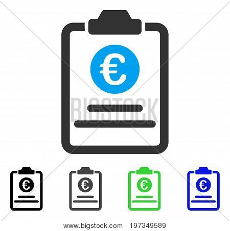 Euro Prices Pad flat vector icon. Colored euro prices pad gray, black, blue, green icon variants. Flat icon style for web design.
