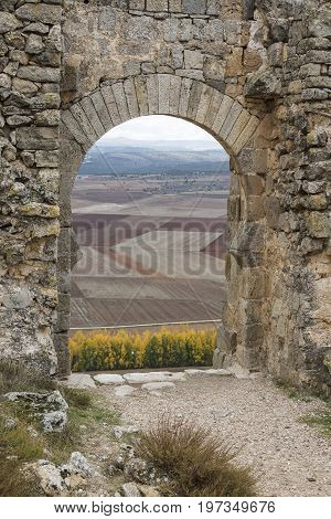 a view from the castle of the Gormaz fields in Autumn, province of Soria, Spain