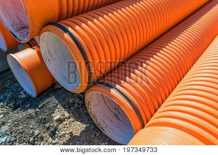 Corrugated Water Pipes Of Large Diameter Prepared For Laying