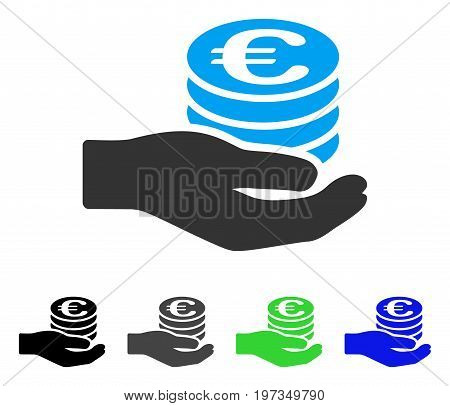 Euro Salary flat vector illustration. Colored euro salary gray, black, blue, green icon versions. Flat icon style for graphic design.