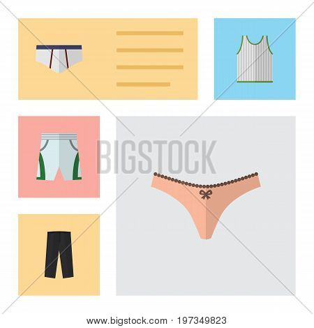 Flat Icon Garment Set Of Lingerie, Underclothes, Pants And Other Vector Objects