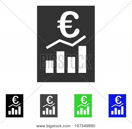 Euro Sale Report flat vector illustration. Colored euro sale report gray, black, blue, green pictogram versions. Flat icon style for application design.
