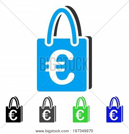 Euro Shopping Bag flat vector icon. Colored euro shopping bag gray, black, blue, green icon variants. Flat icon style for application design.