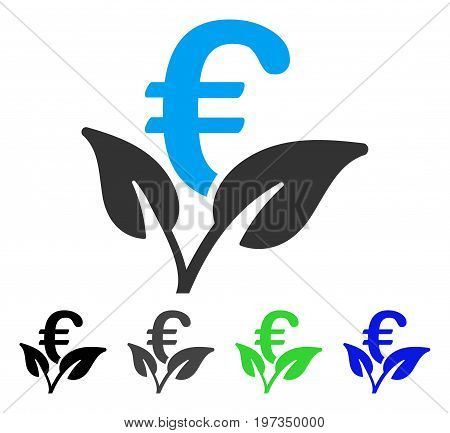 Euro Startup Sprout flat vector pictograph. Colored euro startup sprout gray, black, blue, green pictogram variants. Flat icon style for graphic design.
