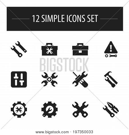 Set Of 12 Editable Tool Icons. Includes Symbols Such As Spanner, Fixing Equipment, Wrench Hammer And More