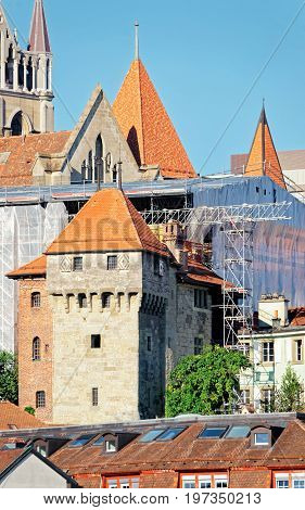 Fragment Of Notre Dame Cathedral In Lausanne