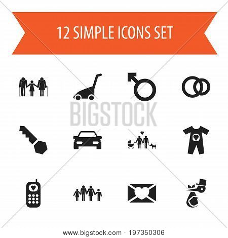 Set Of 12 Editable Kin Icons. Includes Symbols Such As Lock, Family, Automobile And More
