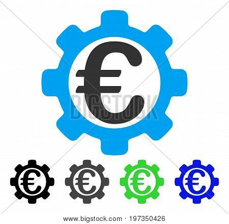 Euro Options flat vector pictograph. Colored euro options gray, black, blue, green icon versions. Flat icon style for web design.