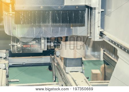 Woodworking Machine With Drill During Processing 2