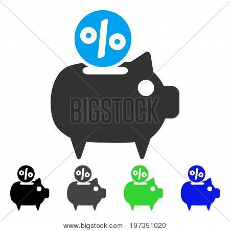 Piggy Bank flat vector pictograph. Colored piggy bank gray, black, blue, green icon versions. Flat icon style for graphic design.