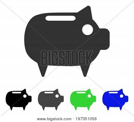 Piggy Bank flat vector icon. Colored piggy bank gray, black, blue, green pictogram variants. Flat icon style for web design.