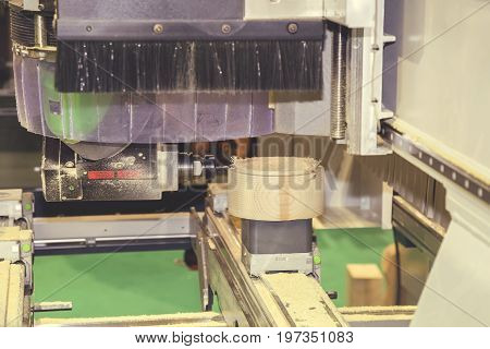 Woodworking Machine With Drill During Processing 5