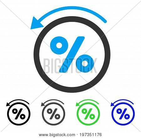 Rebate Percent flat vector pictograph. Colored rebate percent gray, black, blue, green icon variants. Flat icon style for application design.