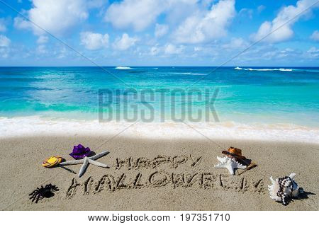 Halloween background with starfishes on the sandy beach near the ocean