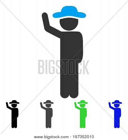 Gentleman Hitchhike flat vector pictograph. Colored gentleman hitchhike gray, black, blue, green pictogram versions. Flat icon style for graphic design.