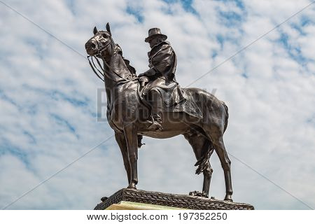 WASHINGTON, DC - JULY 12, 2017:The Ulysses S. Grant Memorial is a presidential memorial in Washington, D.C., honoring American Civil War general and 18th United States President Ulysses S. Grant.