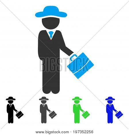 Gentleman Manager flat vector illustration. Colored gentleman manager gray, black, blue, green icon variants. Flat icon style for application design.