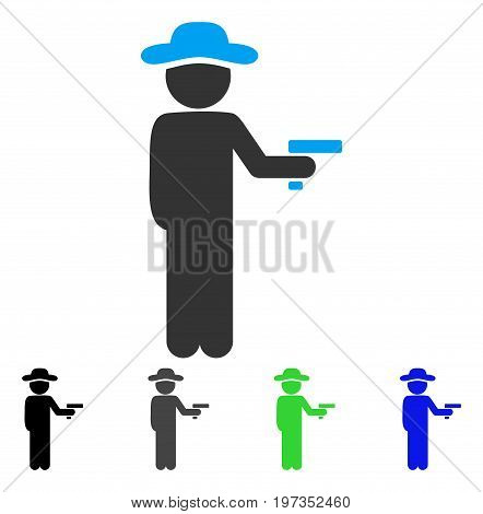 Gentleman Robber flat vector illustration. Colored gentleman robber gray, black, blue, green pictogram variants. Flat icon style for web design.