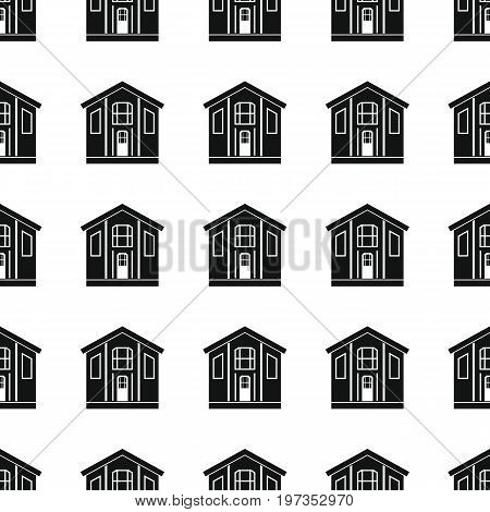 Village seamless pattern vector illustration background. Black silhouette village stylish texture. Repeating village seamless pattern background for architecture design and web