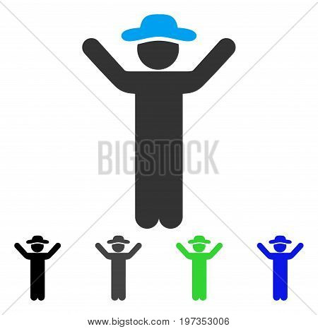 Hands Up Gentleman flat vector icon. Colored hands up gentleman gray, black, blue, green icon variants. Flat icon style for application design.