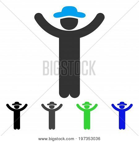 Hands Up Gentleman flat vector pictogram. Colored hands up gentleman gray, black, blue, green pictogram variants. Flat icon style for graphic design.