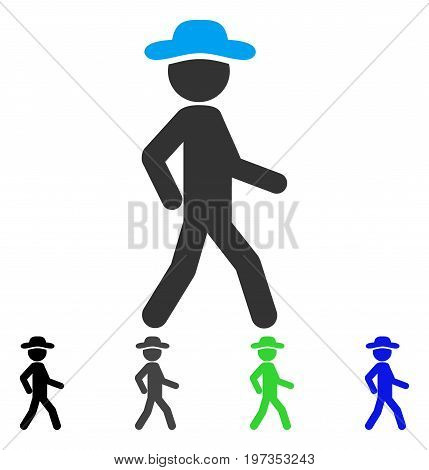 Walking Gentleman flat vector pictograph. Colored walking gentleman gray, black, blue, green pictogram versions. Flat icon style for application design.