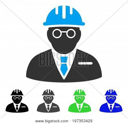Blind Engineer flat vector illustration. Colored blind engineer gray, black, blue, green pictogram variants. Flat icon style for web design.