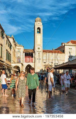 People At Belfry On Stradun Street Dubrovnik