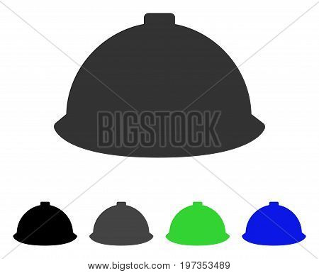 Builder Helmet flat vector pictogram. Colored builder helmet gray, black, blue, green pictogram versions. Flat icon style for web design.