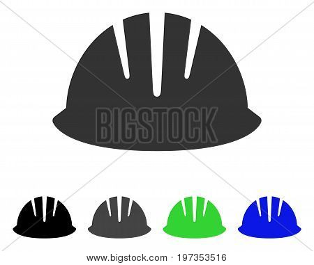 Builder Helmet flat vector pictograph. Colored builder helmet gray, black, blue, green pictogram variants. Flat icon style for application design.