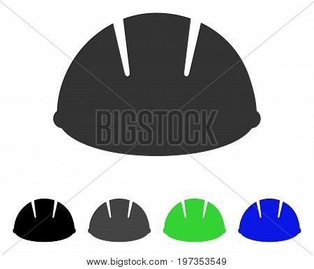Builder Helmet flat vector icon. Colored builder helmet gray, black, blue, green pictogram variants. Flat icon style for application design.
