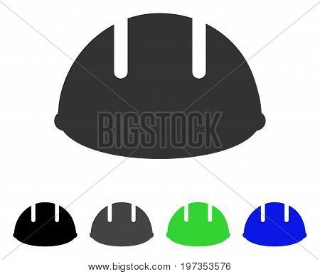Builder Helmet flat vector pictogram. Colored builder helmet gray, black, blue, green icon variants. Flat icon style for web design.