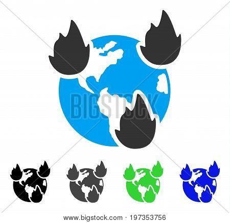 Earth Disasters flat vector illustration. Colored earth disasters gray, black, blue, green pictogram versions. Flat icon style for web design.